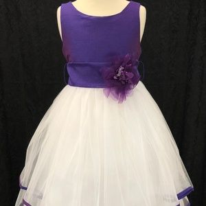 Kids Girls Purple White pleated formal party dress